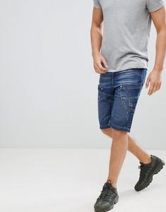 Темные джинсовые шорты со вставками Crosshatch - Темно-синий