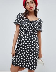 Платье в горошек с оборками Lost Ink - Черный