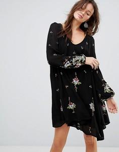 Платье мини с вышивкой Free People - Черный