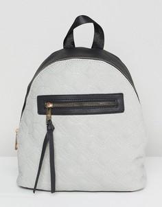 Стеганый рюкзак с контрастной черной молнией Yoki Fashion - Серый