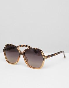 Квадратные солнцезащитные oversize-очки в светлой черепаховой оправе Jeepers Peepers - Коричневый
