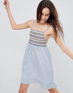 Платье с цветной присборенной отделкой Brave Soul Sandra - Синий