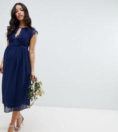 Платье миди с кружевной отделкой TFNC Maternity Bridesmaid - Темно-синий