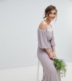 Платье макси с открытыми плечами и отделкой на талии TFNC Petite - Серый