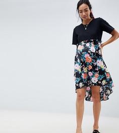 Платье с принтом на юбке и асимметричным подолом ASOS DESIGN Maternity - Мульти