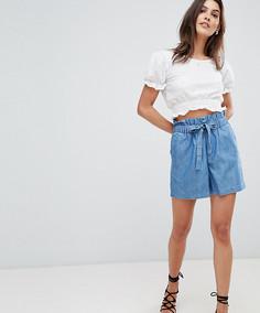 Джинсовые шорты с поясом-оборкой Vila - Синий