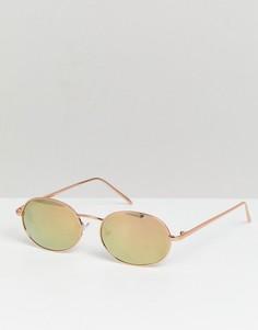 Круглые солнцезащитные очки цвета розового золота Reclaimed Vintage Inspired - Золотой