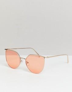 Солнцезащитные очки кошачий глаз с красными стеклами Reclaimed Vintage Inspired - Серебряный