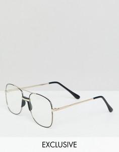 Очки-авиаторы в оправе медного цвета с прозрачными стеклами Reclaimed Vintage Inspired - Золотой