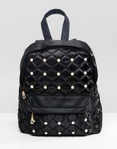 Черный стеганый рюкзак с заклепками Yoki Fashion - Черный