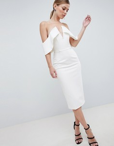 Платье-бандо миди с глубоким вырезом Lavish Alice - Белый