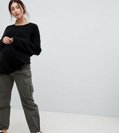 Брюки-карго цвета хаки с посадкой под животом ASOS DESIGN Maternity - Зеленый