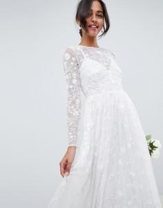 Платье с декоративной отделкой и вышивкой ASOS EDITION - Белый