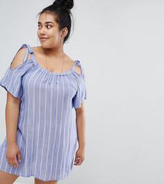 Платье-туника в полоску с открытыми плечами Zizzi - Синий
