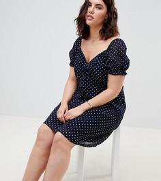 Короткое приталенное платье в горошек Influence Plus - Темно-синий