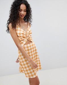 Платье в клетку с вырезом и завязкой Lasula - Желтый