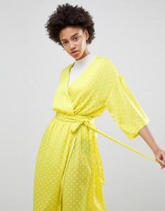 Платье макси в горошек с рукавами-кимоно Moss Copenhagen - Зеленый