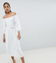Платье миди с широким вырезом и ремнем ASOS DESIGN Tall - Белый