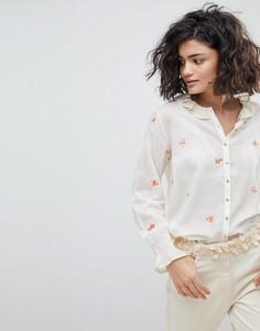 Блузка на пуговицах с вышивкой Intropia - Кремовый