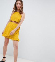 Мини-юбка в горошек из комплекта с запахом и оборкой Glamorous Petite - Желтый