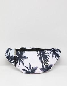 Сумка-кошелек на пояс с логотипом и пальмовым принтом Hype - Синий