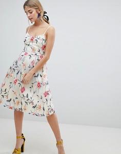 Пышное платье миди со сплошной цветочной вышивкой Dolly & Delicious - Мульти
