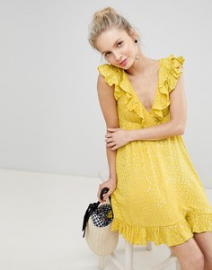 Свободное платье мини с оборками Glamorous - Желтый