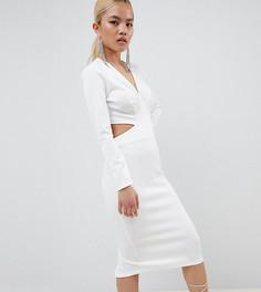 Облегающее платье миди ASOS DESIGN Petite - Белый