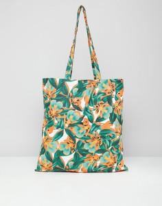 Пляжная сумка-тоут с тропическим принтом Monki - Мульти