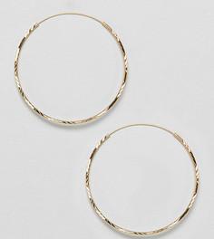 Серебряные позолоченные серьги-кольца ASOS DESIGN - 50 мм - Золотой