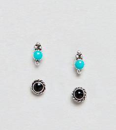 2 пары серебряных серег-гвоздиков с гравировкой и камнями ASOS DESIGN - Серебряный