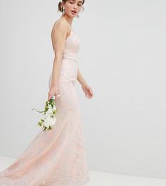 Кружевное платье макси Chi Chi London Petite - Розовый