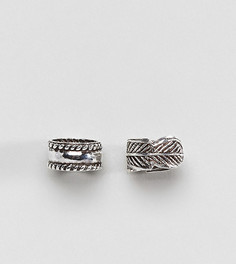 Набор из 2 пар серебряных каффов ASOS DESIGN - Серебряный