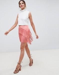 Мини-юбка с бахромой ASOS DESIGN - Розовый