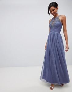 Платье макси с цветочной аппликацией Little Mistress - Синий