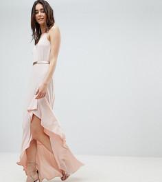 Платье макси на бретельках с разрезом и оборками ASOS DESIGN Tall - Розовый