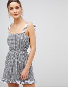 Пляжное платье в клетку с завязками на плечах ASOS DESIGN - Мульти