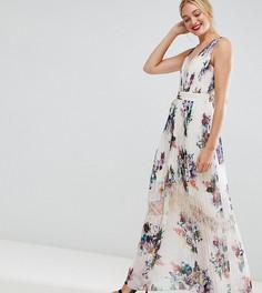 Платье макси с плиссировкой и цветочным принтом Little Mistress Tall - Кремовый