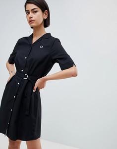 Платье-рубашка с поясом Fred Perry - Черный