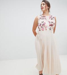 Платье миди с плиссировкой и вышивкой на лифе Little Mistress Plus - Кремовый