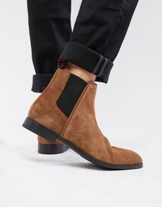 Светло-коричневые замшевые ботинки челси HUGO Boheme - Рыжий