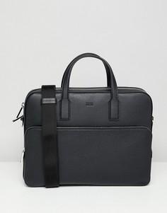 Черная кожаная сумка BOSS Crosstown - Черный