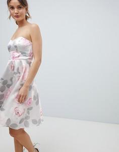 Приталенное платье для выпускного с цветочным принтом City Goddess - Серый