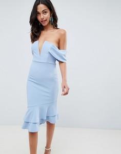 Облегающее платье миди с V-образной вставкой ASOS DESIGN - Синий