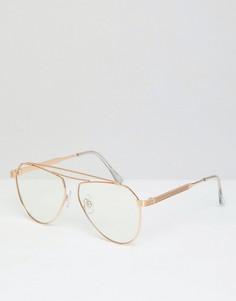 Золотистые очки-авиаторы с прозрачными стеклами Jeepers Peepers - Серебряный