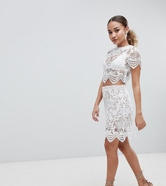 Кружевная мини-юбка Boohoo - Кремовый