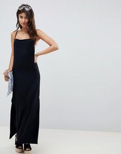 Платье-футляр макси с драпированным вырезом на спине ASOS DESIGN - Черный