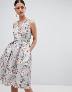 Платье с принтом Closet London - Кремовый