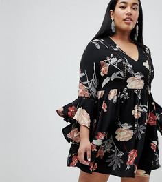 Свободное платье с цветочным принтом Boohoo Plus - Мульти