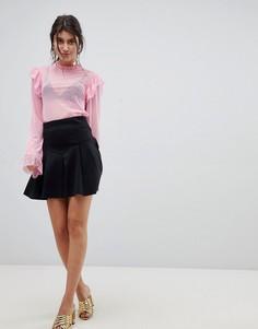 Короткая расклешенная юбка со складками ASOS DESIGN - Черный